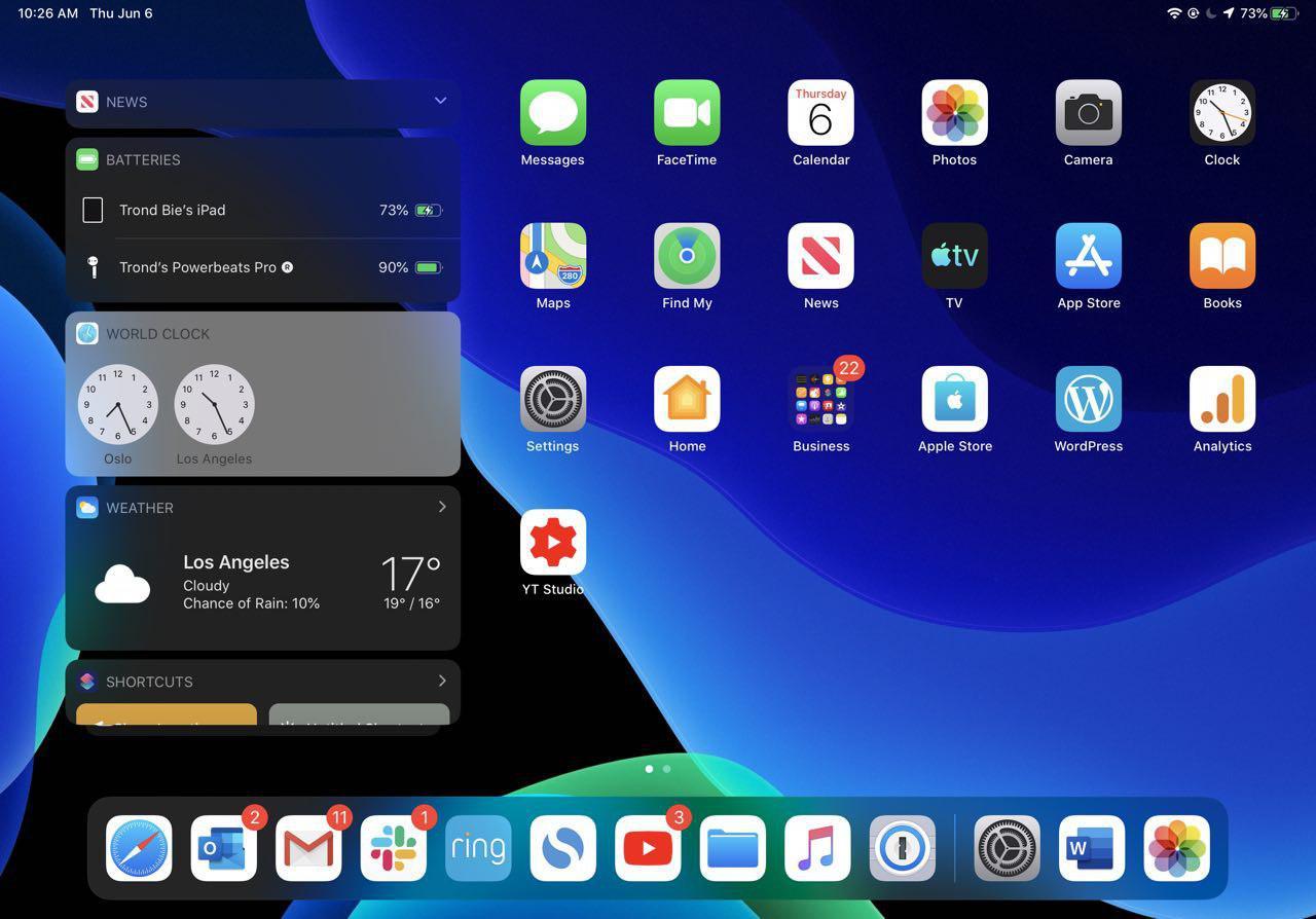 Vår iPadOS-hjemskjerm på iPad Pro 11.