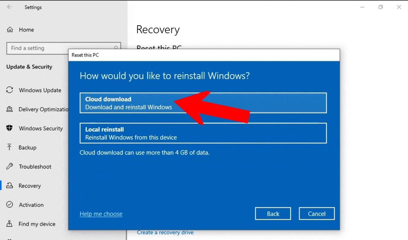 WIndows 10 cloud download