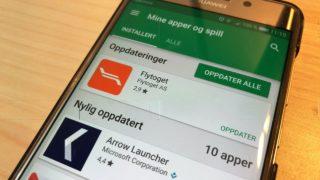 Google Play Store varsel oppdatering