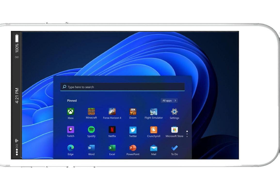 Windows 11 på Android-telefon. Illustrasjonsbilde.