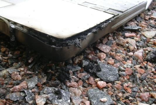 Slik så kabinettet på Powerbooken ut etter den eksplosive brannen.