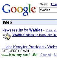 Google waffles Kerry