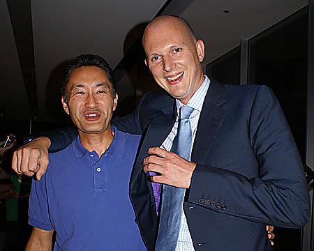 Bedre tider: Da vi møtte Hirai og daværende Europa-sjef Phil Harrison i Tokyo, rett før PlayStation 3 ble lansert.