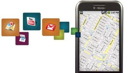Slik ser T-Mobiles G1 - verdens første telefon som bruker Google-OS-et Android.