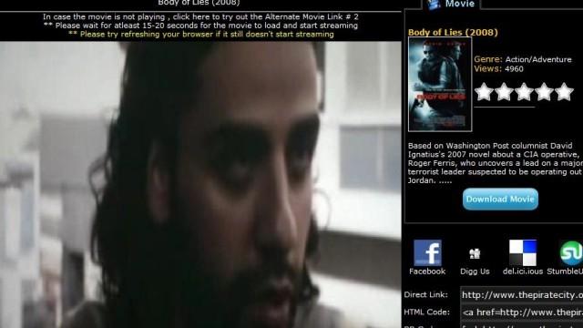 «Body of Lies» er en av filmene som kan streames på nettsiden. Denne filmen med blant annet Leonardo de Caprio har ikke premiere på norske kinoer før neste måned.
