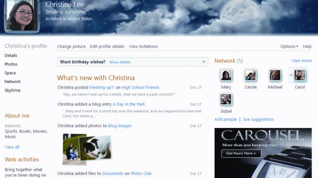 Dette er nye home.live.com som her viser nyhetsfeeden.