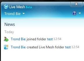 Ved å bevege musa over Mesh-ikonet i verktøylinjen får man frem informasjon om hva som skjer på kontoen.