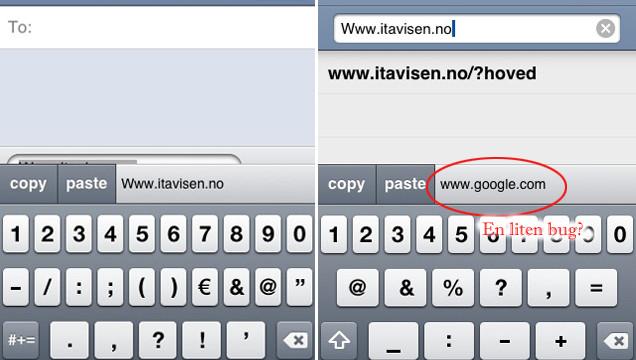 Her har vi kopiert nettadressen vår fra en melding, og kopiert det inn i Safari. Av en eller annen grunn står den første adressen vi kopierte fortsatt som aktiv, selv om den kopierte riktig.