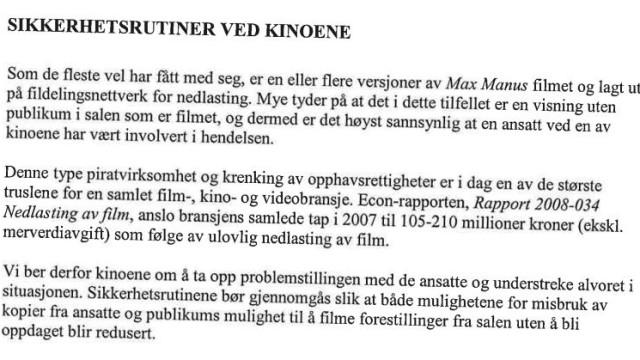 Dette er brevet ledelsen i Film&Kino sender til Norske kinoer.