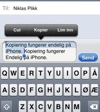 Endelig har iPhonen får klipp-og-lim.