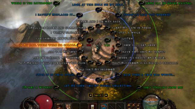 """""""Hvor er doen"""" er bare én av mange ulike samtaleemener du kan ta opp som arkivar i Diablo 3."""