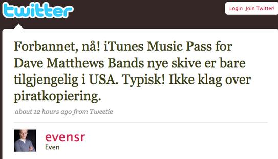 Evens (18) opprinnelige melding på Twitter som fikk Pedersen til å se rødt.