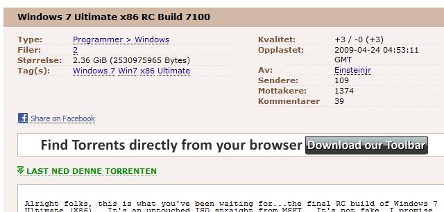 Det spekuleres om dette er den ekte RC-versjonen av Windows 7 som skal lanseres av Microsoft en gang neste måned.