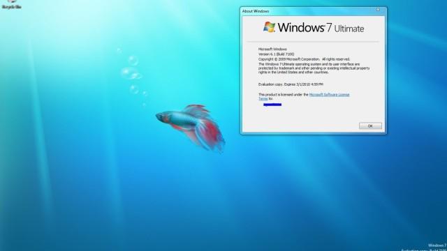 Dette er en av de første skjermdumpene av RC-versjonen av Windows 7.