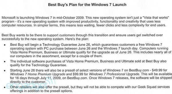 Best Buys lekkede notat avslører prisen på oppgraderingsversjonen av Windows 7 Home Premium og Professional.