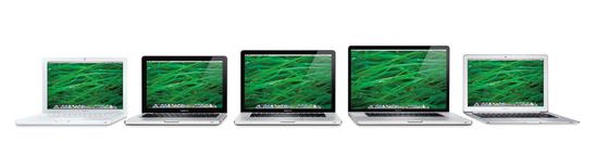 Her er alle de nye MacBookene på rad og rekke.