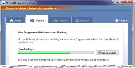 Slik ser det ut når MSE oppdaterer virussignaturdatabasen.