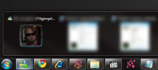 Den nye taskbaren gjør det mye enklere å holde styr på programmer og ikke minst Messenger samtalevinduer.