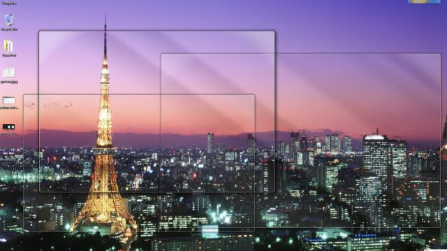 Slik er den endlige versjonen av Windows 7 med Tokyo Tower-teamet og show desktop-aktivert (Aero Peek).