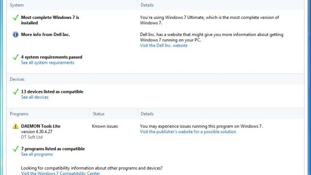 Etter at maskinen er undersøkt av Windows 7 Upgrade Advisor får du oversikt over hva som er kompatibelt og hva som må undersøkes nærmere med lenker til riktige steder.