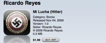 Adolf Hitlers selvbiografi Mein Kampf ble godkjent av Apple, mens andre langt mindre kontroversielle bøker blir stoppet.