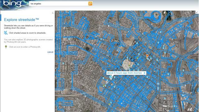 Oversikt over Los Angeles, gater merket med blått støtter Streetside.