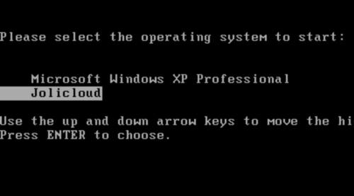 JoliCloud kan dual-bootes med Windows.
