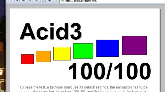 Opera 10.5 har ingen problemer med Acid 3-testen.