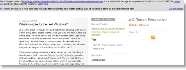 På denne bloggen avslørte nok teknikeren litt for mye. Bloggen ble nemlig senere fjernet, men ikke før en Windows-blogg plukket den opp.