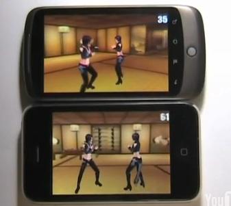 Det er ingen tvil hvem som er kjappest. 3GS viser nesten dobbelt så mange bilder i sekundet i forhold til Nexus One.