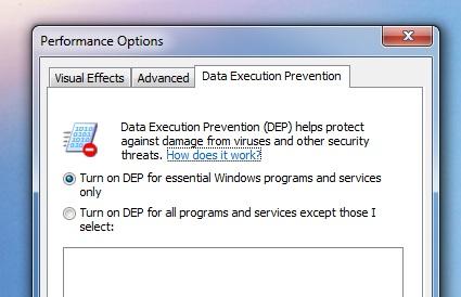 DEP er å finne i alle versjoner etter og inkludert Windows XP SP2 fra 2004.