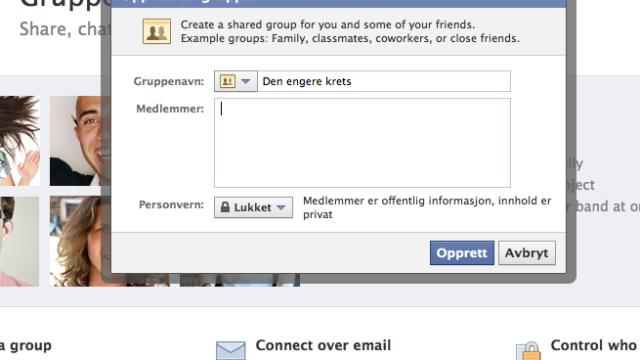 Slik oppretter du en gruppe. Så kan du legge venner til etter tur (trykk forbokstav).