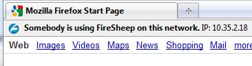 Slik varsler Blacksheep deg om noen bruker Firesheep-utvidelsen på ditt nett.