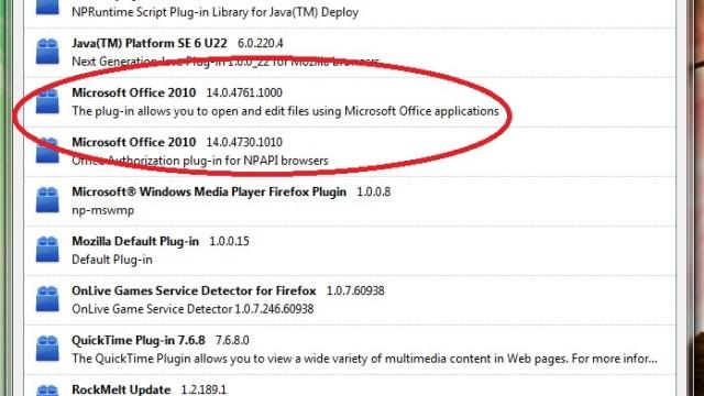 Undertegnedes Firefox 3.6.12-installasjon er full av programtillegg grunnet installasjon av programmer fra Google, Microsoft og Apple.
