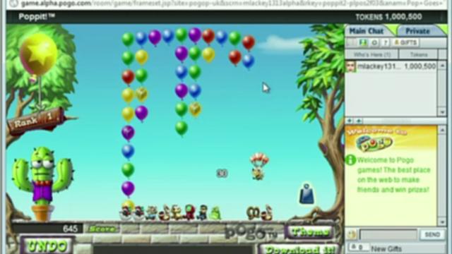 Det populære spillet Popit i Chrome-utgave.