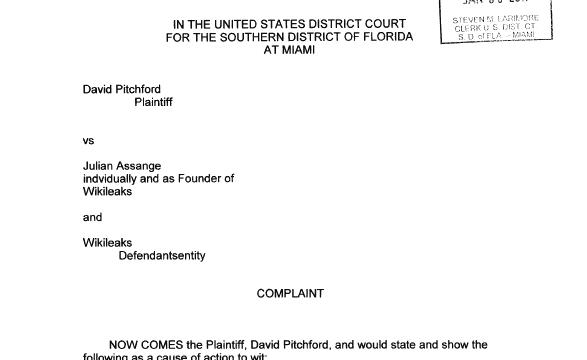 Dette er søksmålet som er sendt distriktsretten i Miami.