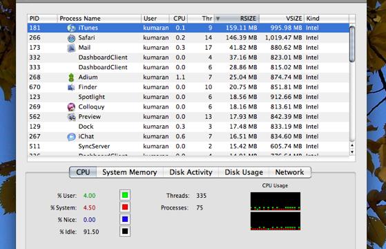 Det er lett å avslutte programmer med Activiry Monitor. Merk ønsket program og trykk på den store rød knappen oppe til venstre.
