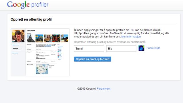 Det første som møter deg om du har en Google-konto, men ikke en Google Profile.