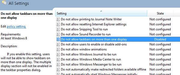 Referanse til flerskjerm-oppsettet i en tidlig versjon av Windows 8.