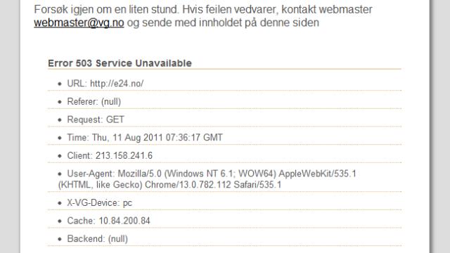 Til slutt valgte VG Nett, som drifter E24.no, å ta ned hele siden.