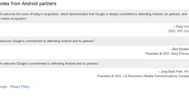 LG, Sony Ericsson og HTC kommenterer Motorola-oppkjøpet med i forhold til den pågående patentstriden.
