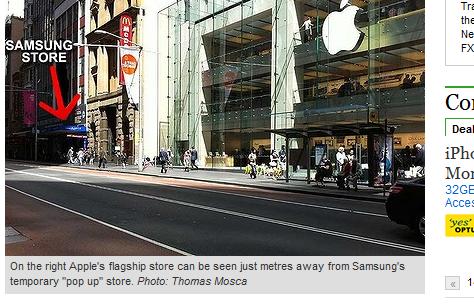 Det er ikke lange veien fra Apple Store til Samsungs provisoriske mobil-butikk.