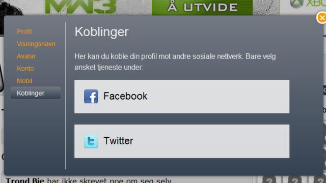 Koble din profil mot Facebook og Twitter.