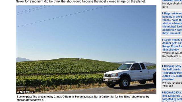 Her i Napa, verdenskjent for vin, ble bildet tatt på en rutine tur.