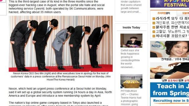 Nexon-ledelsen ber omm  unnskyldning. (Faksimile: The Korea Herald)