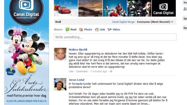 Canal Digital driver reklame og support på sin Facebook-side. Det er et fint tiltak, men når man kun sporadisk får svar her, på e-post og telefon er det ikke lett å vite hvor man skal henvende seg. Skal man måtte mase i fire kanaler samtidig, chat, e-post