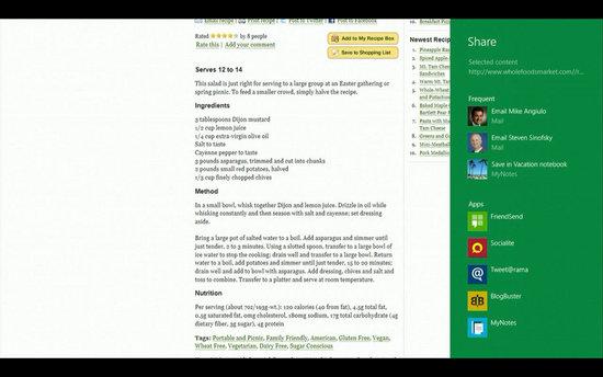 SkyDrive integreres i Charm-verktøylinjen - altså den grønne menyen på høyre side. Den har alle apper tilgang til.