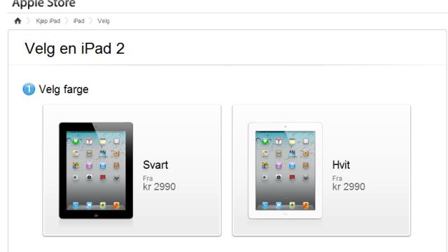 Prisen på iPad 2 er nedjustert med rundt 900 kroner.