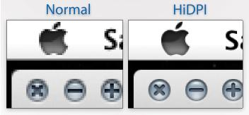 Med og uten HiDPI i Lion.
